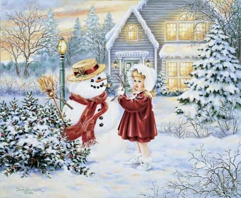 Открытки зима и дети
